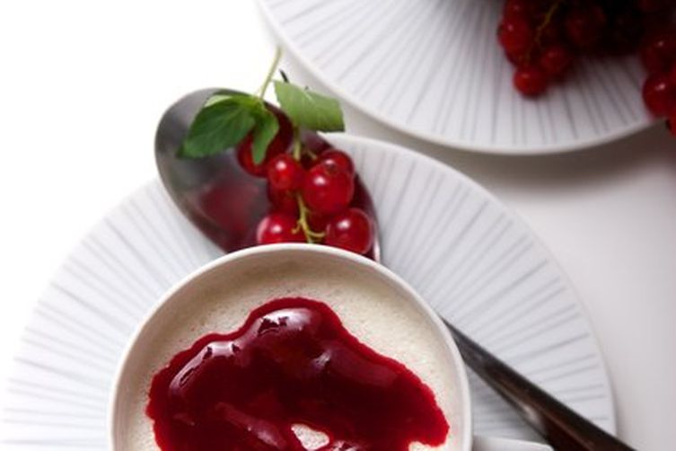 Vanilla Panna Cotta with Red Currant and Raspberry Coulis