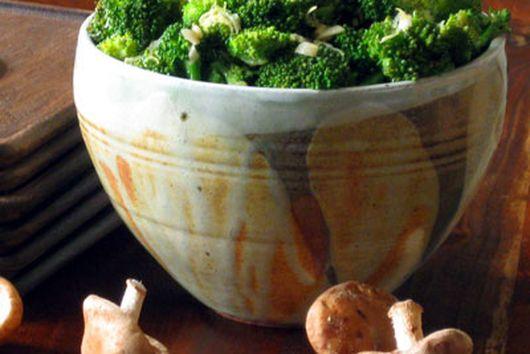 Broccoli Salad with Lemon, Garlic and Shitake Mushrooms