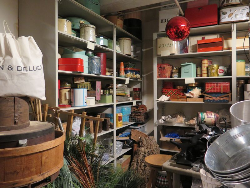 The far back corner of one room held holiday decor, used to stage wintry scenes on many of the shows, in addition to canisters and bread boxes of all flavors.