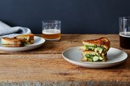 Grilled Brie Sandwiches with Honey, Pistachio, and Kale Pesto