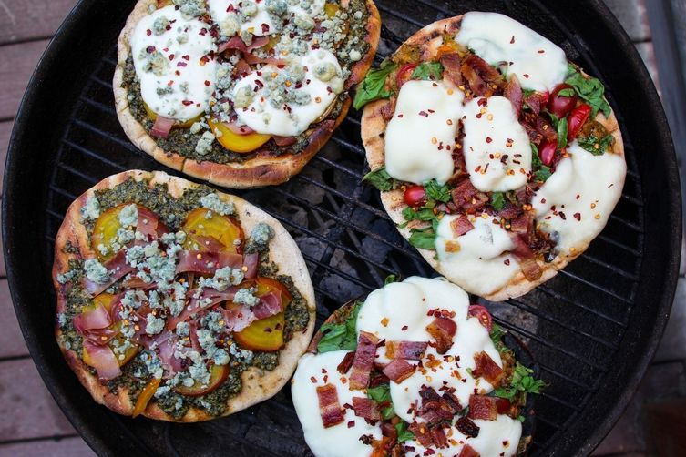 Beet and Blue Dande Pesto Pizza (with Dandelion and Beet Green Pesto)