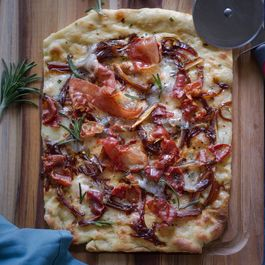 Flatbread With Dates, Manchego Cheese, Rosemary & Crispy Prosciutto