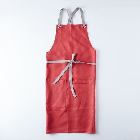 Crimson Cross-Back Kitchen Apron with Graphite Gray Ties