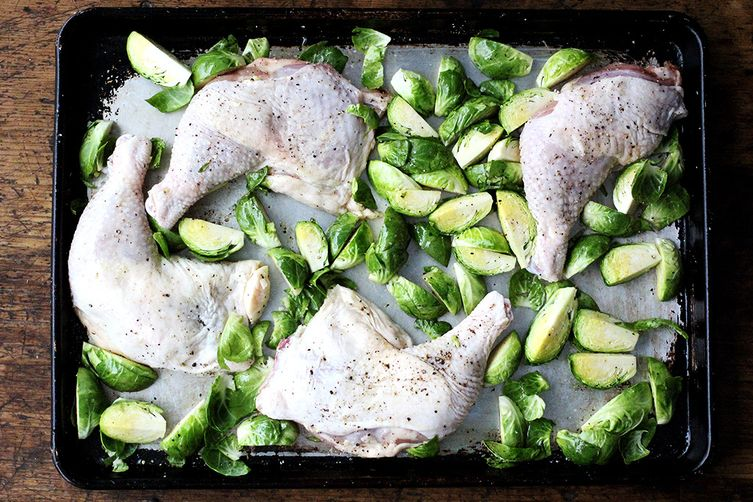 Sheet Pan Chicken and Brussels Sprouts with Reduced Balsamic