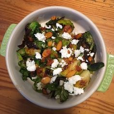 Sherry Glazed Brussels Sprouts with Smoked Paprika-Almond Relish and Feta