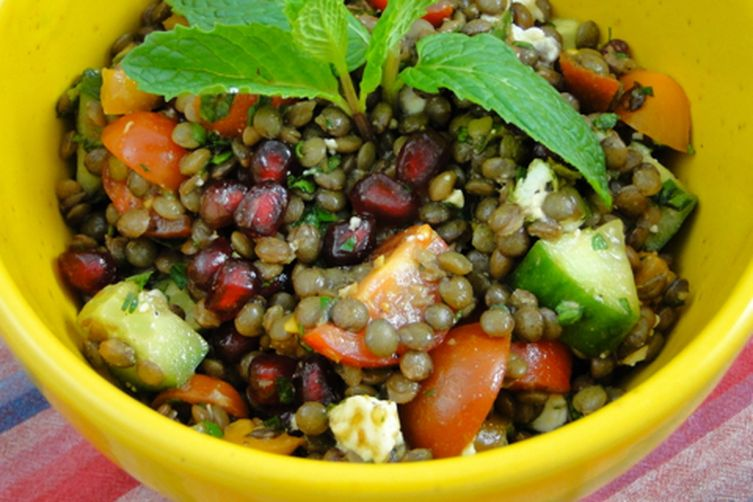Lentil tabbouleh salad with pomegranates