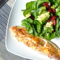 Tilapia with black cherry and avocado.
