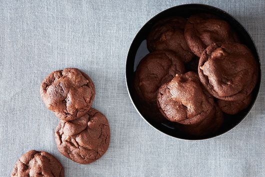 Deep Chocolate Cookies with Milk Chocolate Chips