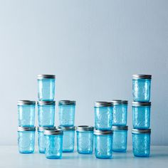 Ball Elite Blue Jars (Set of 16)