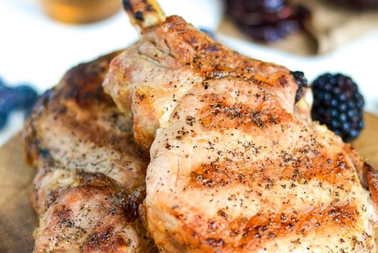 Grilled Pork Chops with Bourbon Berry BBQ Sauce