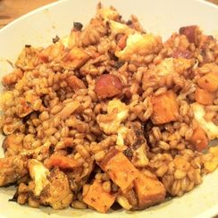 Warm Farro Salad with Moroccan Spiced Vegetables