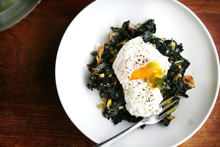 Slow-Cooked Tuscan Kale with Pancetta, Bread Crumbs, and a Poached Egg