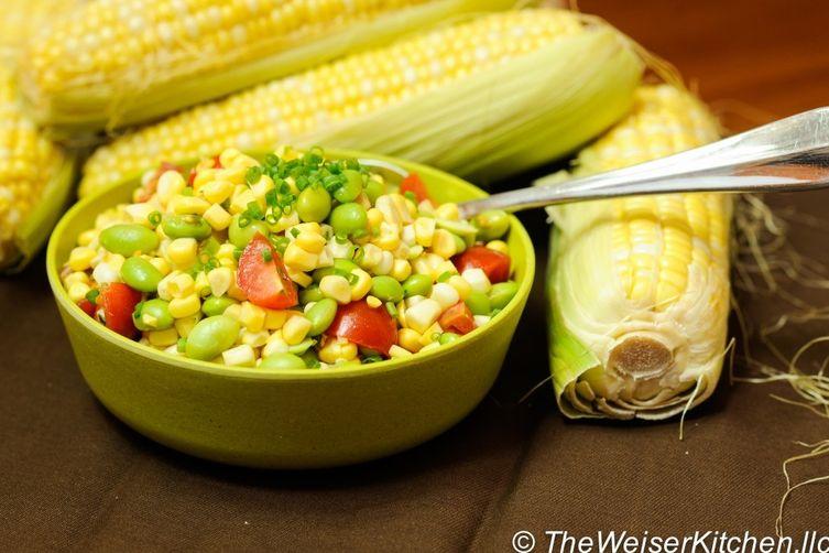 Raw Corn and Edamame Summer Salad