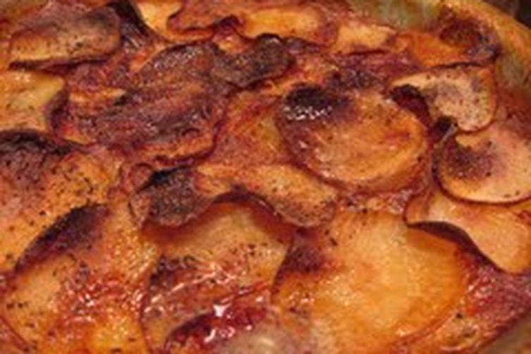 Bay-scented potato gratin
