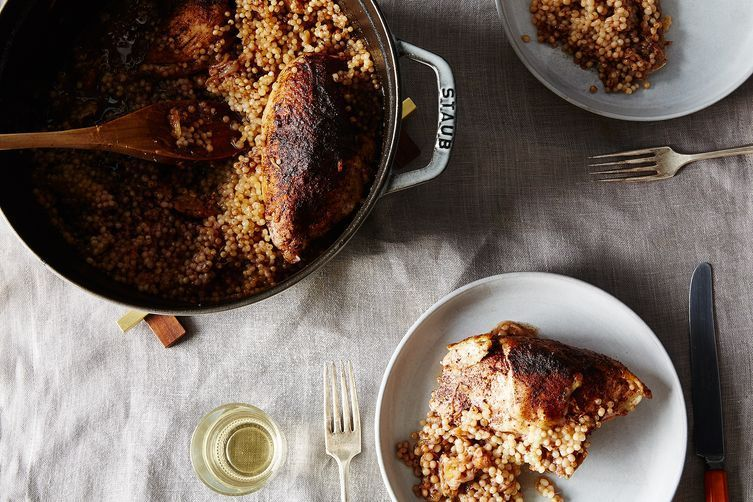 ... with Caramelized Sumac Onions, Preserved Lemon, and Israeli Couscous