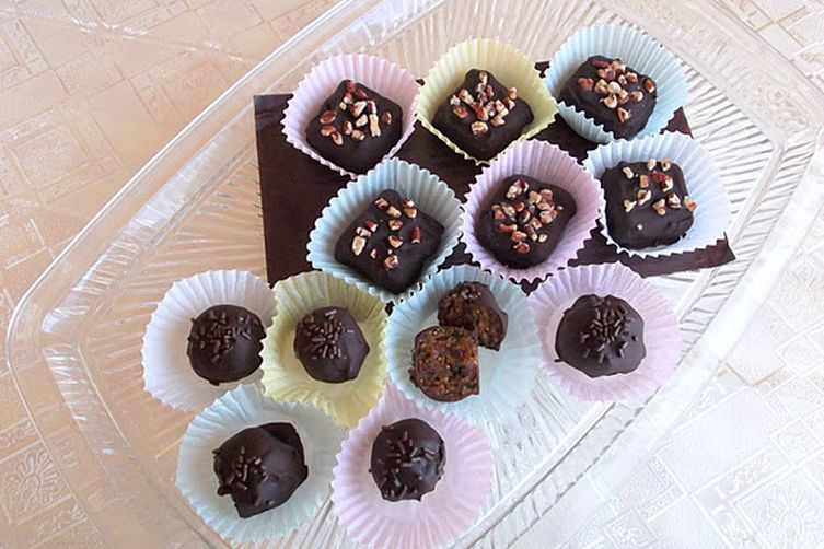 Spiced Dried Fruit and Walnut Chocolate Candies