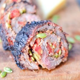 Steak Roll-ups With Salsa Casera, Manchego and Pepitas
