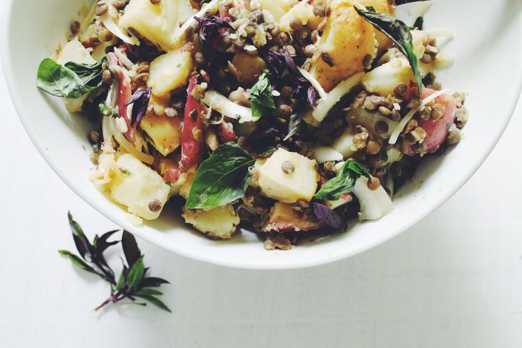 Herby French Potato Salad with Thai Basil and Garlic Scapes