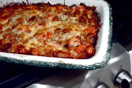 "Lasagna with Lamb, Roasted Tomatoes and White Bean ""Hummus"""
