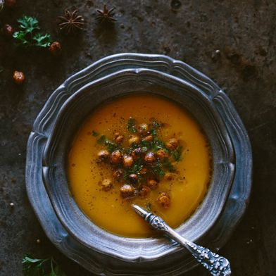 Coriander and Sweet Potato Soup with Spicy Chickpea Croutons