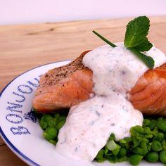 Pan Seared Salmon with Mashed Peas and Mint Raita
