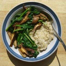"Savory oatmeal with shiitake ""bacon"" and spinach"