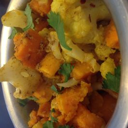 iHeart curried cauliflower and sweet potatoes