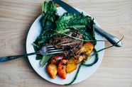 Grilled Salad with Romaine, Peaches, Garlic Scapes, and Steak