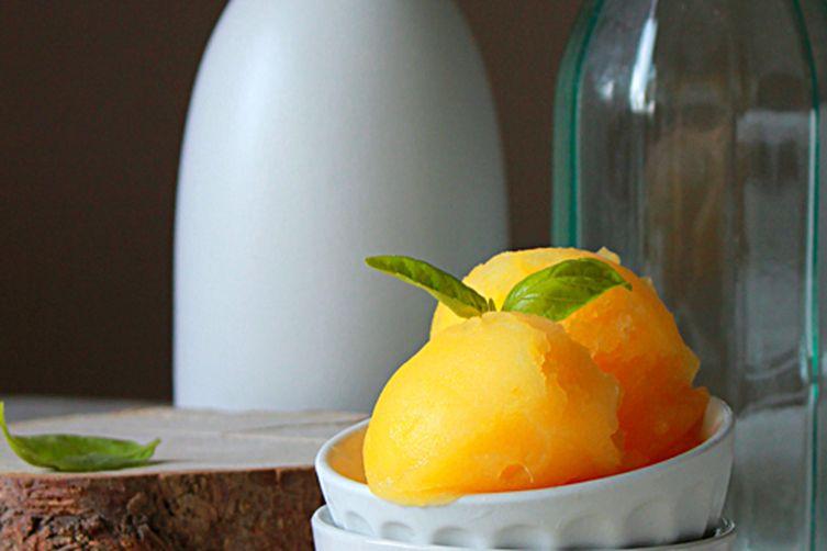 Fresh orange basil sorbet