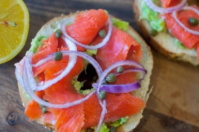 Bagels with Lox and Avocado Spread