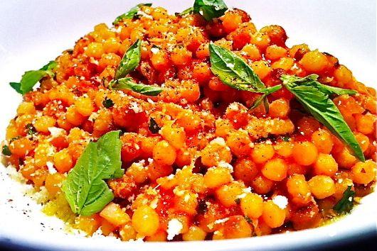 Fregola Sarda with Tomato, Pecorino, and Basil