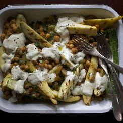 Grilled Squash with Chickpeas, Raisins + Garlic-Yogurt Sauce