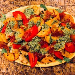 Grilled Persimmon Salad with Crispy Prosciutto and Pesto Vinaigrette