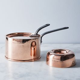 Vintage Copper English Jones Bros Saucepan & Bundt Mould, Mid 19th Century
