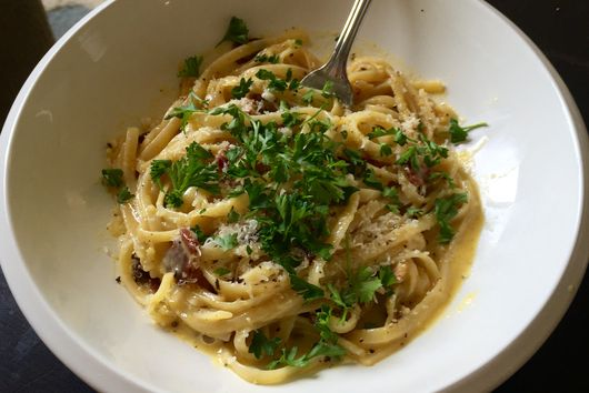 No-frills Pasta Carbonara for One