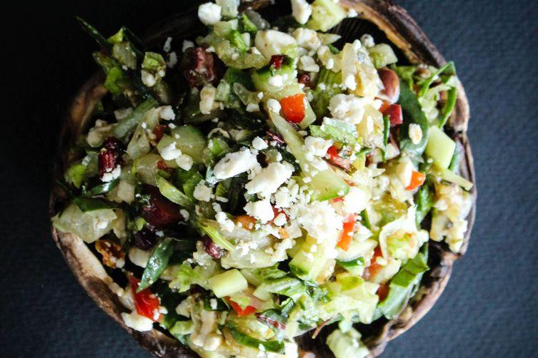 Greek salad on portobello