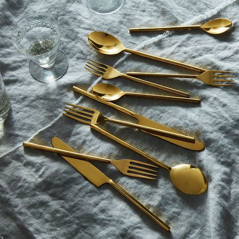 Simple Brass Flatware (5-Piece Place Setting)