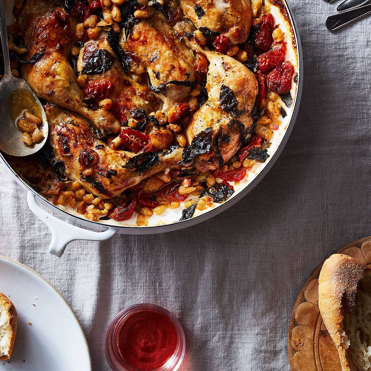 Jamie Oliver's Tender & Crisp Chicken Legs With Sweet Tomatoes & Basil