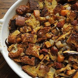Ciabatta Stuffing with Chorizo, Sweet Potato, and Mushrooms