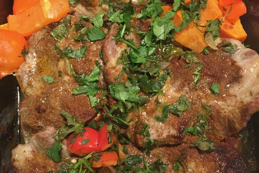 Spiced Pan Roasted Pork Chops with Sumac Vegetables