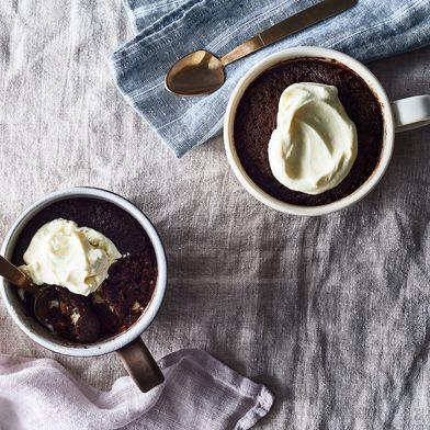 Chocolate Olive Oil Mug Cake With Sumac & White Chocolate Chunks
