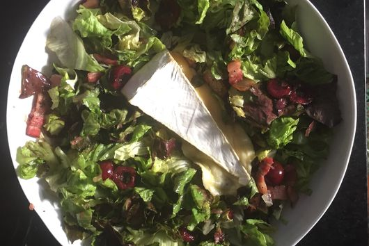 Red Leaf Salad with Warm Cherry Bacon Vinaigrette