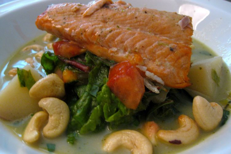 Green Thai Bowl with Coconut Poached Coho Salmon