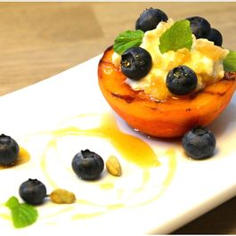 Indian-Spiced Grilled Peaches, Blueberries and Ricotta