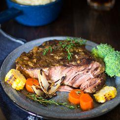 Slow cooker beer-braised pot roast