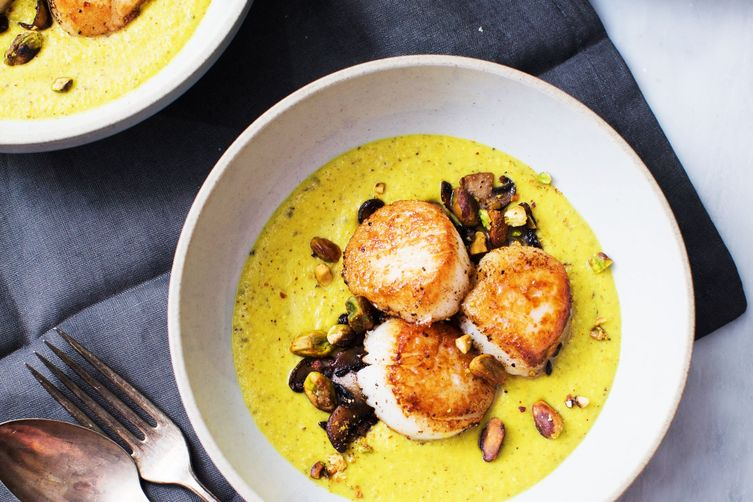 Seared Scallops with Golden Mushroom Purée