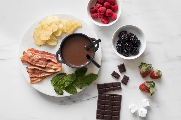 Sweet & Salty Dark Chocolate Fondue for Two