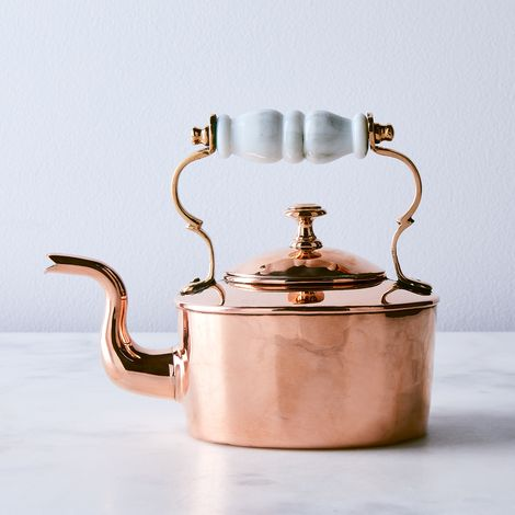 Vintage Copper English Salesman Sample Tea Kettle With Porcelain Handle, Mid 19th Century
