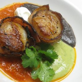 Bacon wrapped scallops with trifecta of Tex-Mex purees