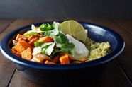 Chile-Roasted Chicken and Sweet Potatoes with Cilantro Rice